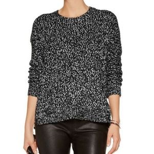 Vince. Black & White Speckled Boucle Crew Sweater